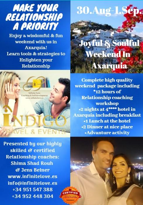 Relationship workshop weekend by infinite love coaching in axarquia malaga